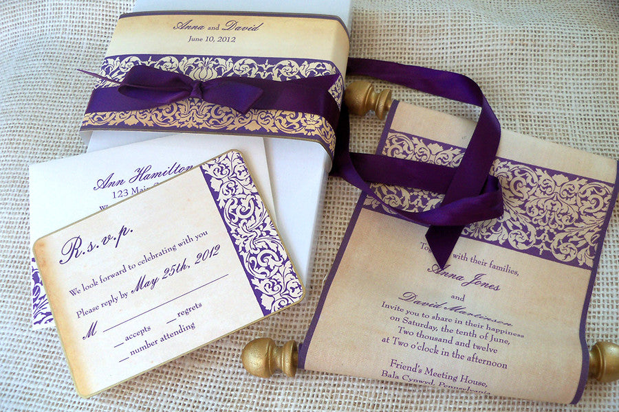 Fairytale wedding invitation suite, fabric scroll – Artful Beginnings