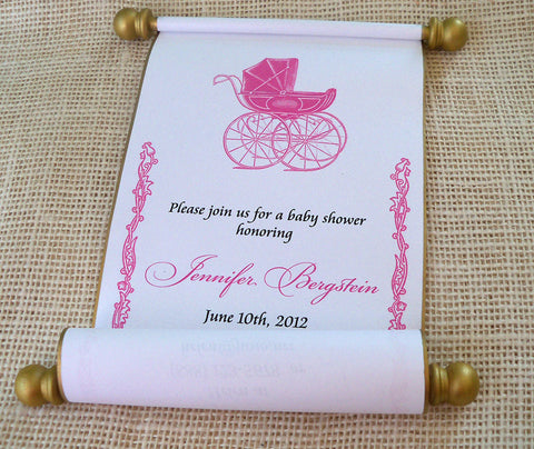 Royal prince or princess baby shower invitation scrolls with baby carriage, 10