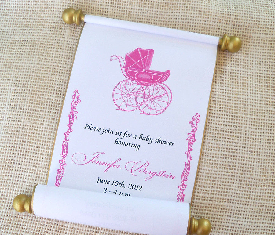 Royal prince or princess baby shower invitation scrolls with baby ...