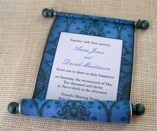 Pineapple damask wedding invitation scroll, set of 5 scrolls