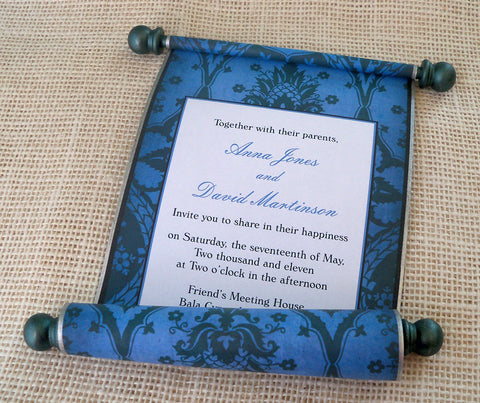 Pineapple damask wedding invitation scroll, set of 10