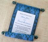 Storybook castle wedding invitation scroll suite, boxed