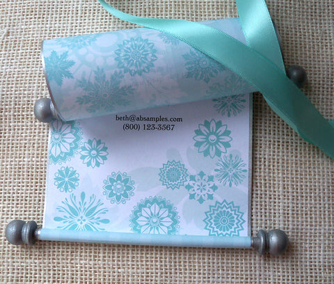 Frozen snowflakes princess birthday invitation scroll, in aqua and silver. Frozen inspired. By Artful Beginnings