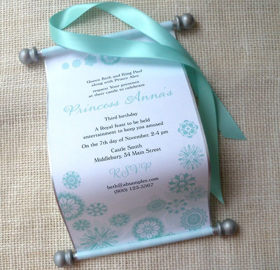Princess invitation scroll aqua snowflakes Artful Beginnings – Snowflake Birthday Invitations