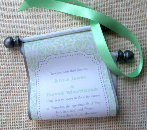 Damask wedding invitation scrolls in mint green with pewter finials, set of 10 scrolls