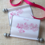 Pink blush roses scroll wedding invitations with metallic silver, set of 5 scrolls