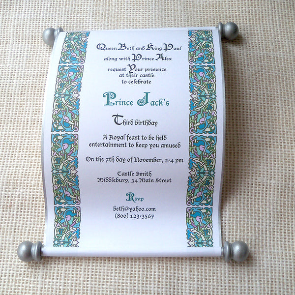 Royal birthday invitation scroll for queen or king, castle kingdom party in silver and teal, set of 10