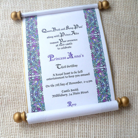 Royal kingdom birthday invitation scroll for prince or princess, queen or king, in purple and gold, set of 10