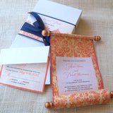 Medieval damask wedding invitation scroll suite in a box, tangerine and navy, set of 25