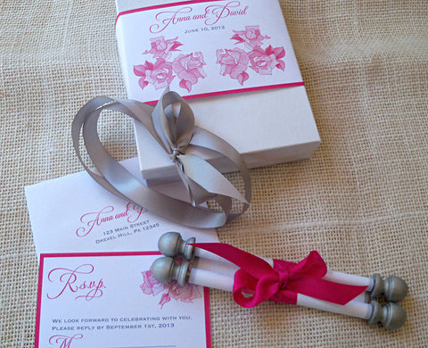 Romantic roses wedding invitation scroll suite