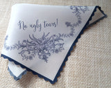 No Ugly Tears silk wedding handkerchief in navy with flower garland