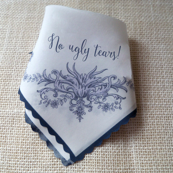 Personalized wedding handkerchief, flower garland, silk