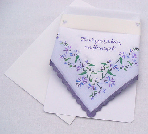 Thank you for being our flowergirl handkerchief with purple and lavender flowers