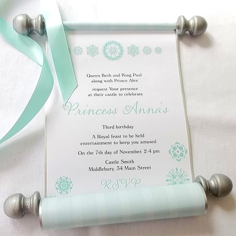 Royal winter birthday party invitation scrolls with snowflakes, princess party in aqua and silver, set of 10