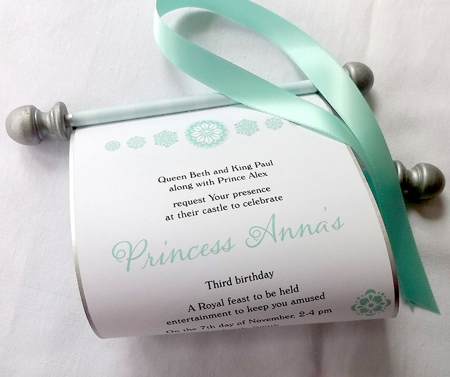 Princess invitation scroll aqua snowflakes artful beginnings royal winter birthday party invitation scrolls with snowflakes princess party in aqua and silver filmwisefo Image collections