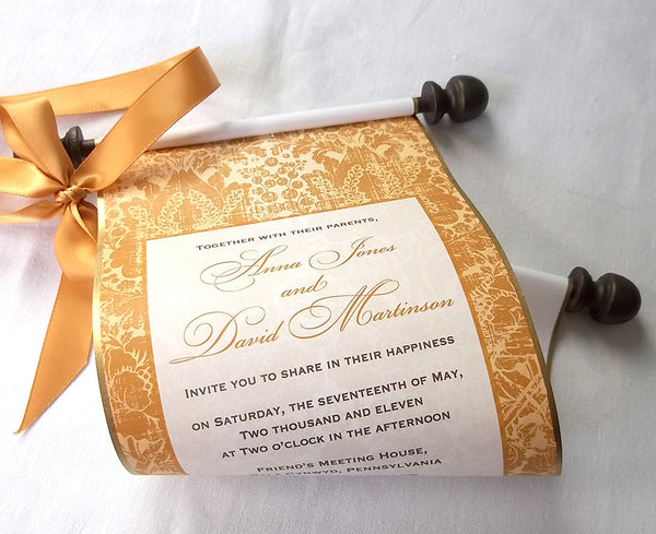 Gold wedding invitation scroll, elegant traditions, set of 5 scrolls