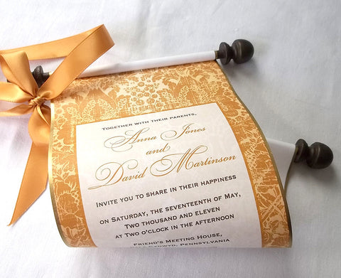 Gold wedding invitation scroll, elegant traditions, set of 10