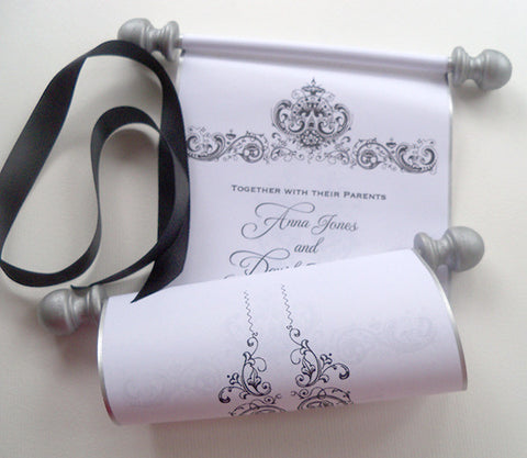 Wedding invitation scrolls with antique damask, set of 10