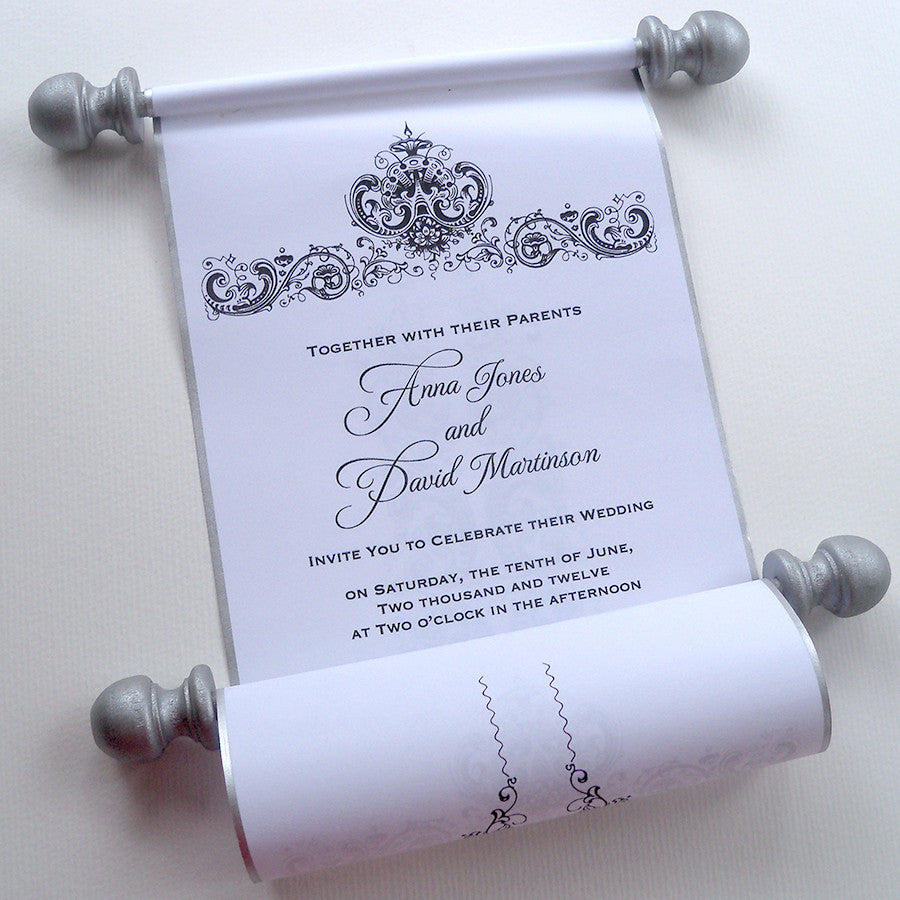 wedding invitation scrolls with antique damask set of 10 artful