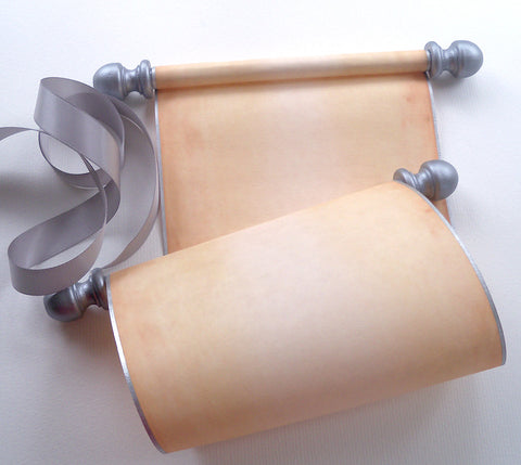 Blank paper scroll for wedding vows, aged parchment paper with silver finials and kraft box
