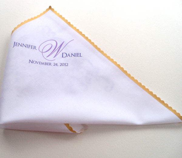 Men's personalized wedding handkerchief with custom monogram