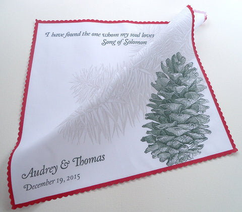 Pine cone personalized wedding handkerchief