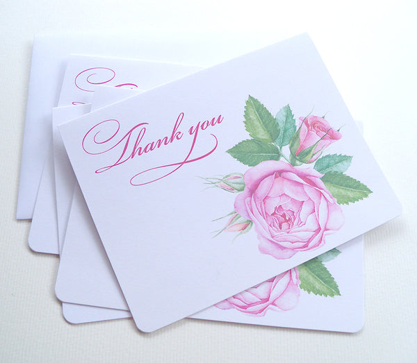 Pink roses thank you cards, set of 25