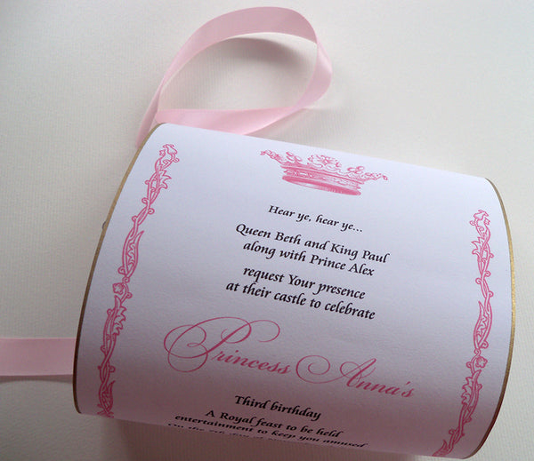 Princess birthday invitation scrolls in pink and gold with royal crown, set of 10