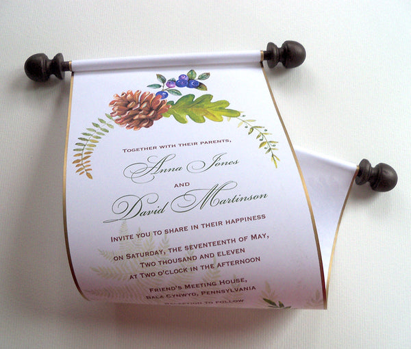 Woods wedding invitation scroll with pinecone and ferns, set of 5 paper scrolls