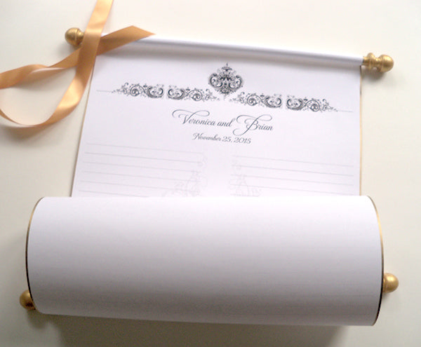 Guest list paper scroll with damask design and storage tube, 50-150 guests