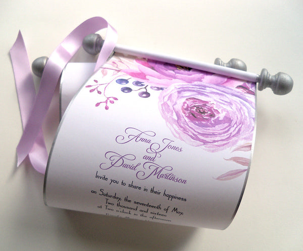 Summer wedding invitation scroll with pink and lavender peony, set of 10
