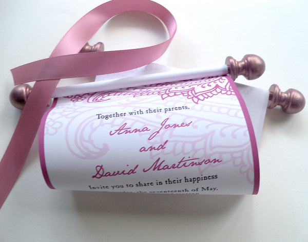 Paisley wedding invitation scrolls in rose blush, set of 10