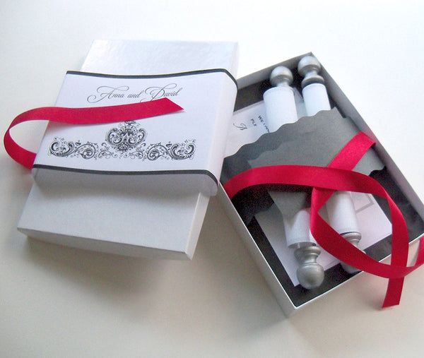 Wedding Invitation Scroll Suite in Black and White with Damask, Fabric Scroll, with fold up mailers