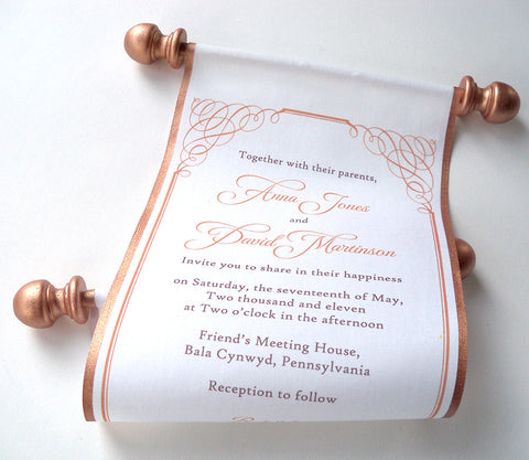 Calligraphy wedding invitation, copper fabric scroll, set of 5