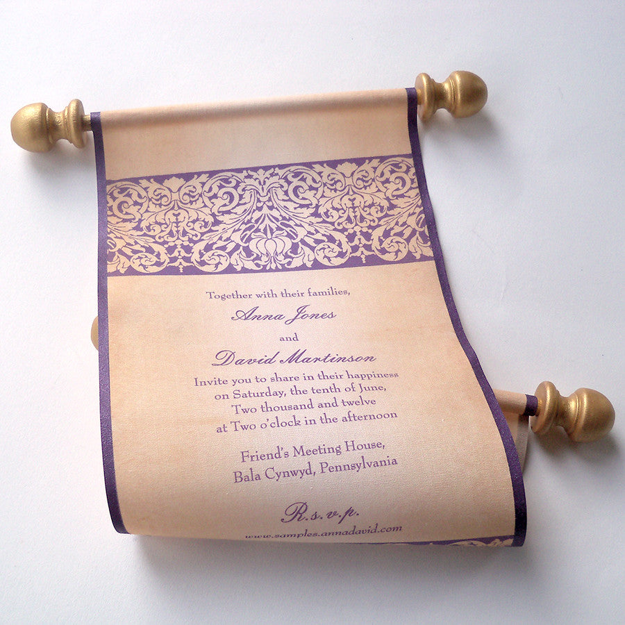 Medieval Castle Wedding Invitation Scroll With Damask Design In Aubergine And Gold Boxed