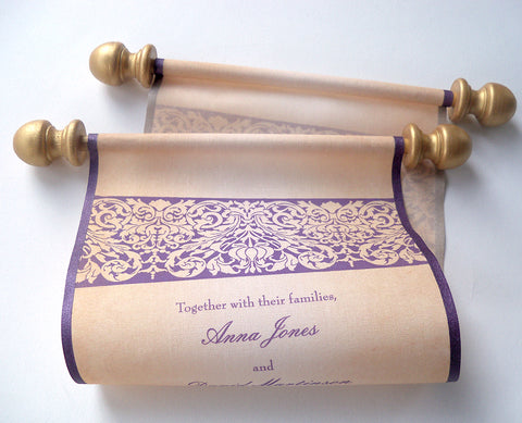 Castle wedding invitation scrolls with damask stencil design, in gold and aubergine, set of 10-15