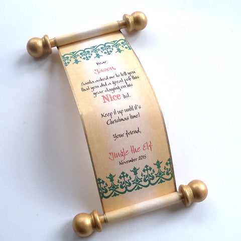 Miniature elf scroll Santa's Nice List letter, Nordic design