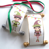 Santa Elf Nice list, Santa's helper scroll, miniature letter from elf