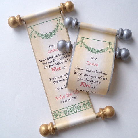 Miniature elf scroll with box, Santa's Nice list
