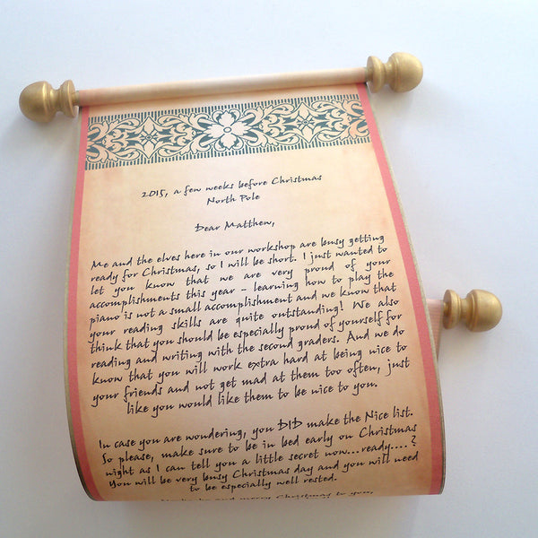 Christmas letter from Santa Claus, parchment paper scroll with snowflake design