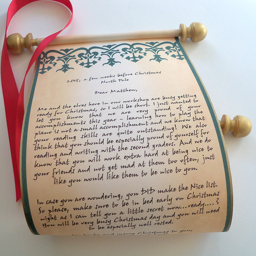 Letter from santa nordic design parchment paper scroll for Scroll letter from santa