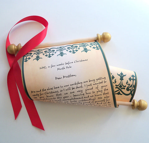 Letter from Santa, Nordic design, parchment paper scroll