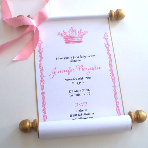 Royal princess baby shower invitation scrolls with crown, set of 10