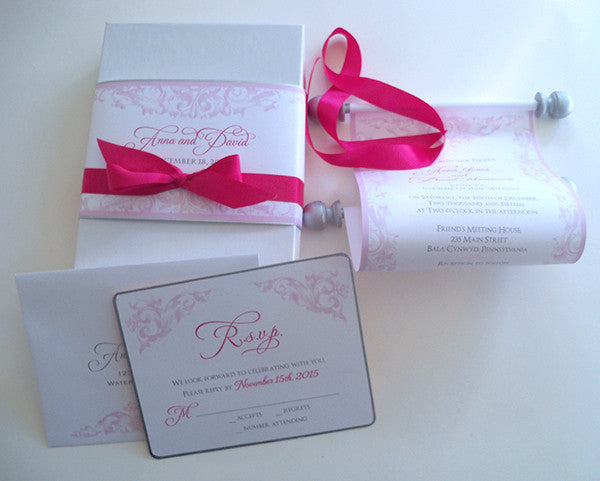 Castle wedding invitation scroll suite in pink and silver
