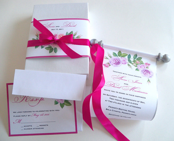 Romantic wedding invitation suite with roses in pink and lavender by Artful Beginnings - boxed scroll suite