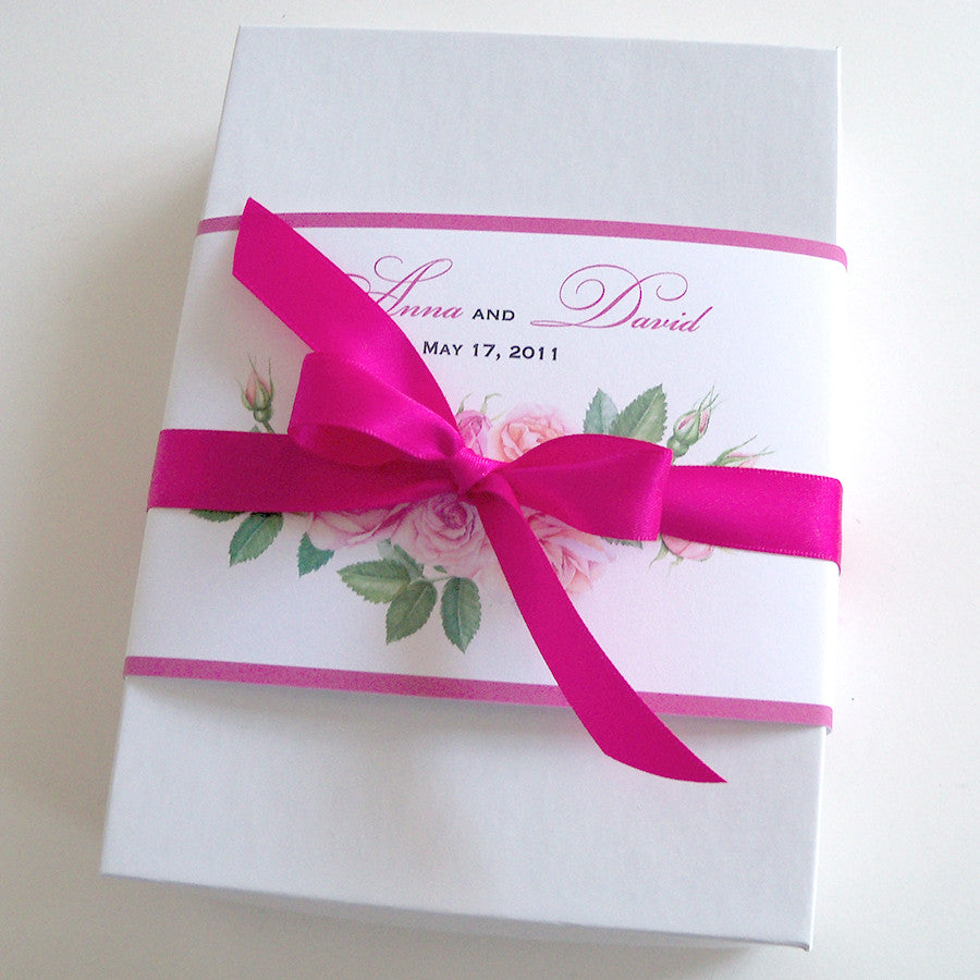 Romantic wedding invitation suite with roses in pink and lavender ...