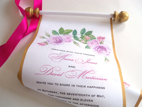 Summer garden wedding invitation scrolls in pink blush and gold, set of 10 scrolls