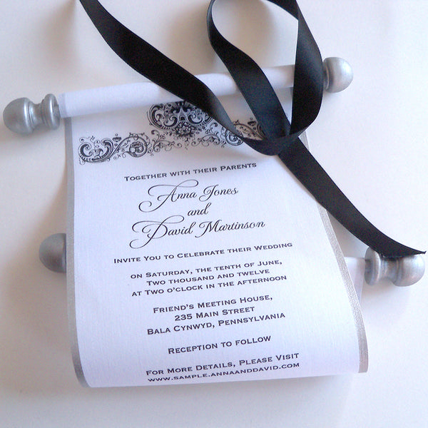 Black and white wedding invitation fabric scrolls with silver finials, set of 10 scrolls
