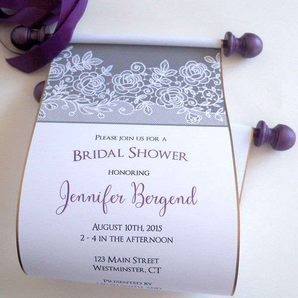 Bridal shower invitation scroll with lace, set of 5 scrolls