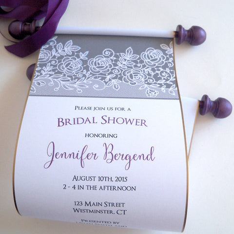 Bridal shower invitation scroll with lace, set of 10